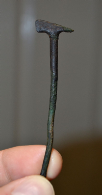 A large and rare Romano - British bronze cloak pin in the form of an axe with handle, found Hertfordshire. SOLD